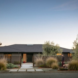 Large contemporary gray one-story stucco house exterior idea in San Francisco with a hip roof and a shingle roof