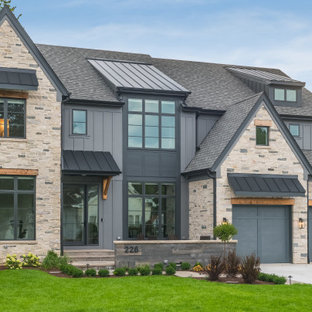 Modern Stone and Siding Farmhouse