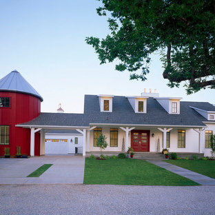 Mid-sized cottage white two-story wood exterior home idea in Salt Lake City with a hip roof
