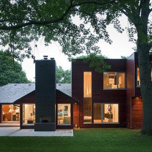 Contemporary wood flat roof idea in Kansas City