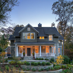 Inspiration for a mid-sized timeless gray gable roof remodel in DC Metro