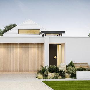 Aménagement Du0027une Petite Façade De Maison Blanche Moderne De Plain Pied  Avec Un