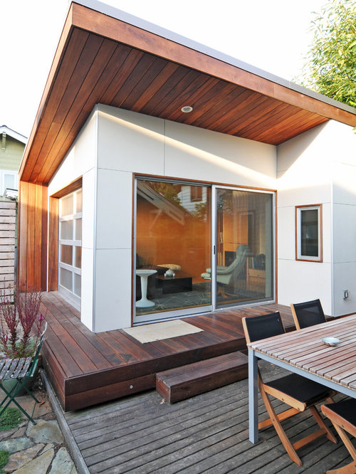 Example Of A Mid Sized Minimalist White One Story Exterior Home Design In  Seattle