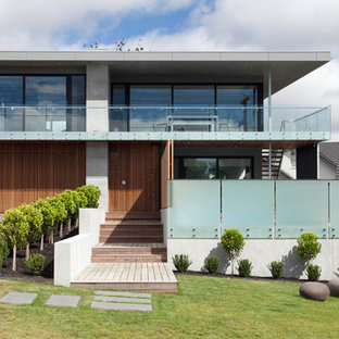 Large contemporary two-storey multi-coloured house exterior in Melbourne with a flat roof.