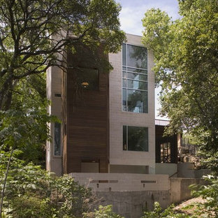 Large minimalist gray two-story mixed siding flat roof photo in Austin