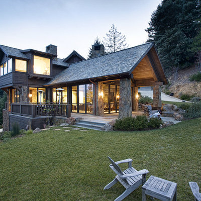 Rustic two-story mixed siding gable roof idea in San Francisco