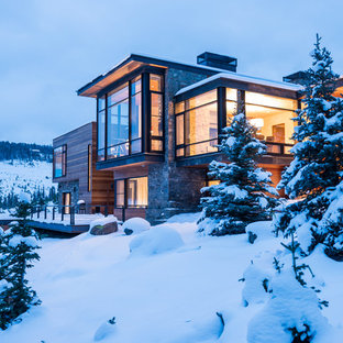 Huge contemporary brown two-story wood flat roof idea in Other