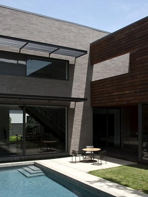 644 Gray ledge stone with brick detail Modern Exterior Design Photos