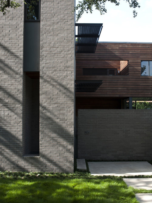Brick staining houzz for Modern gray house exterior