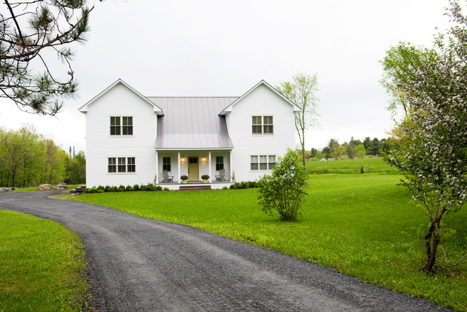 my houzz a prefab modern farmhouse rises in vermont
