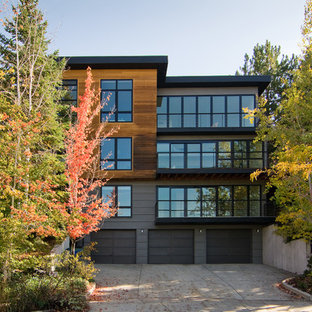 Design ideas for a modern apartment exterior in Salt Lake City with wood siding.