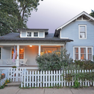 Mid-sized traditional blue two-story exterior home idea in DC Metro