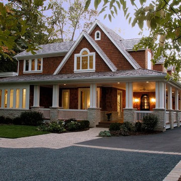 Nantucket Stone and Natural Stain Shingle Style Elegance in Lake Forest
