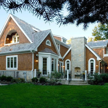 Nantucket Stone and Shingle Style House with Paver Rear Terrace and Fireplace