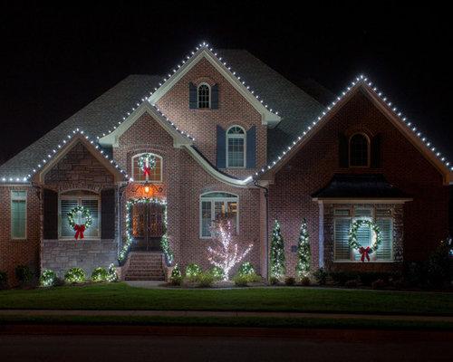 Red Holiday String Lights Exterior Design Ideas, Renovations & Photos