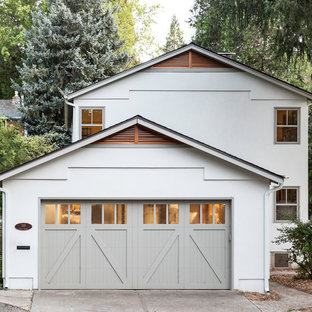 Inspiration for a transitional white two-story exterior home remodel in Sacramento