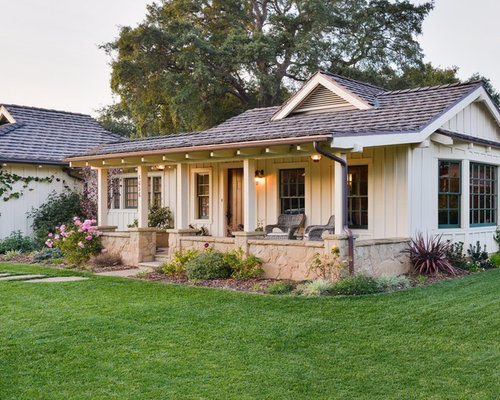 Country White One Story Exterior Home Photo In Santa Barbara