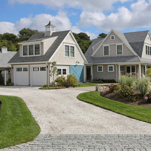 Country gray two-story wood exterior home photo in Boston
