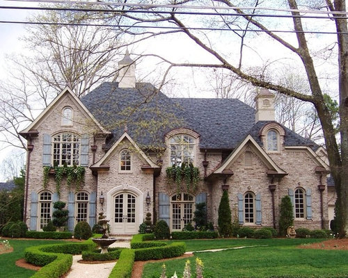 Stucco french country brick houzz for French country brick exterior