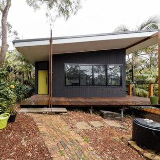 Superb Inspiration For A Small Contemporary One Storey Black Exterior In Sydney  With Wood Siding And