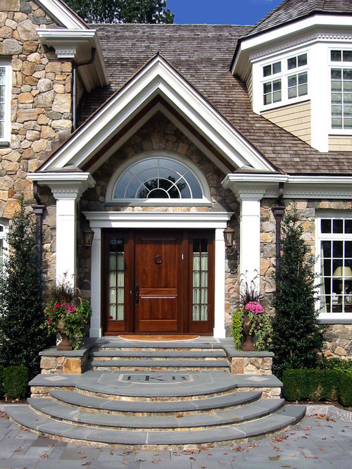 Curved entry steps houzz for House entrance designs exterior