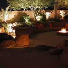 contemporary exterior night lighting