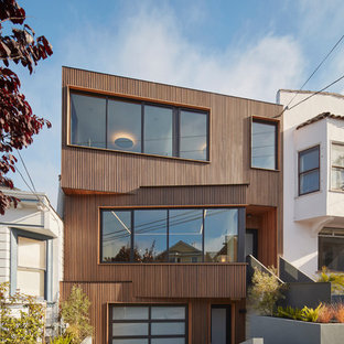 Mid-sized trendy brown three-story wood exterior home photo in San Francisco