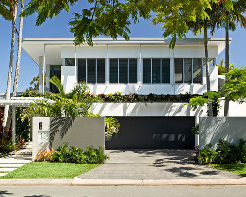 island style white two story exterior home photo in brisbane