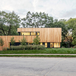 Minimalist brown two-story wood exterior home photo in Minneapolis