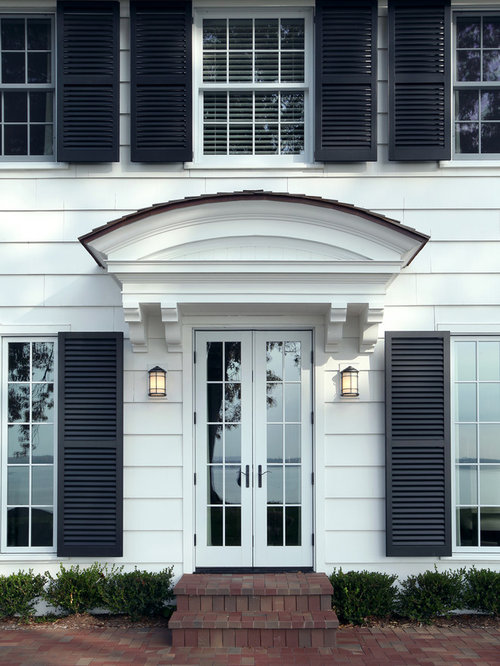 White Siding Black Shutters Home Design Ideas Pictures