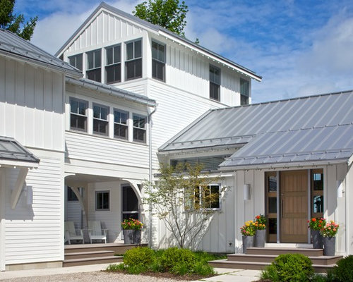 Great Elegant White Exterior Home Photo In Grand Rapids With A Metal Roof