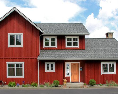 Scandinavian red exterior home design ideas remodels photos for Scandinavian style homes exterior