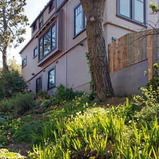 Mid-sized traditional purple three-story exterior home idea in San Francisco with a shingle roof
