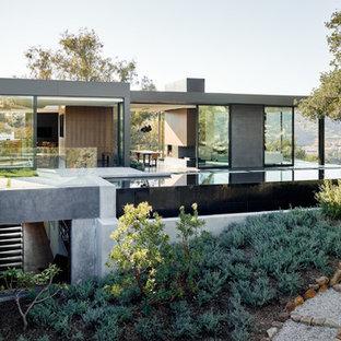 ロサンゼルスのモダンスタイルのおしゃれな家の外観 (混合材サイディング、グレーの外壁、緑化屋根) の写真