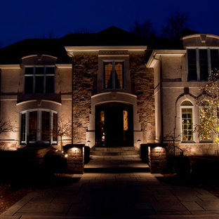 Example of a tuscan exterior home design in Indianapolis