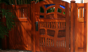 Old growth cypress  garden  gate with fused glass