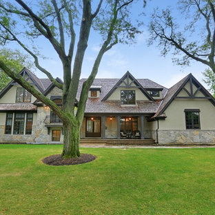 Large elegant gray two-story stone exterior home photo in Chicago
