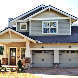 Inspiration for a mid-sized craftsman green two-story mixed siding exterior home remodel in Orlando