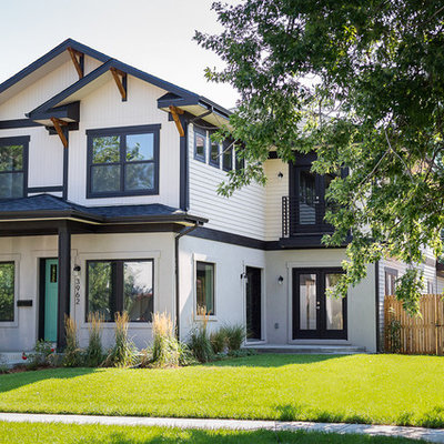 Example of a large transitional white two-story concrete fiberboard exterior home design in Denver with a shingle roof
