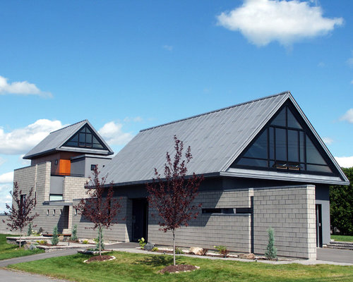 Example Of A Trendy Gray Exterior Home Design In Ottawa