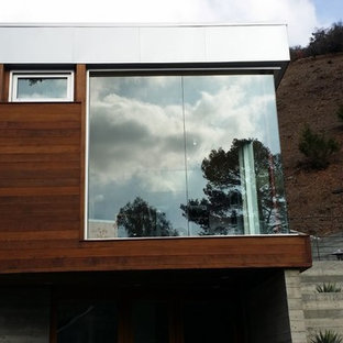 Large modern brown two-story wood exterior home idea in Los Angeles