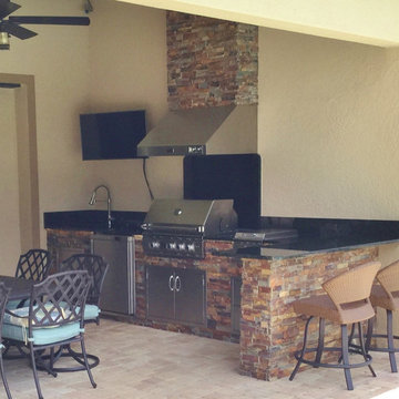 Outdoor Kitchens, BBQs with Terrablend Ledgestone Natural Stone Panels