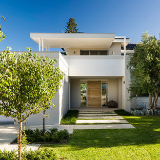 Inspiration for a modern white two-story exterior home remodel in Perth