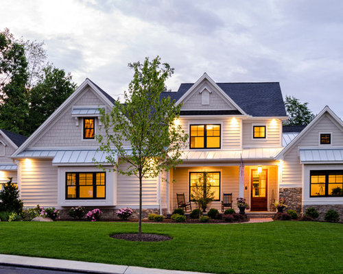 Best beige exterior home with a gable roof design ideas remodel pictures houzz - Two story gable roof houses ...
