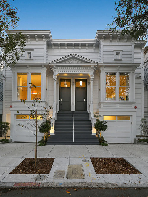 Example of a classic white wood duplex exterior design in san francisco