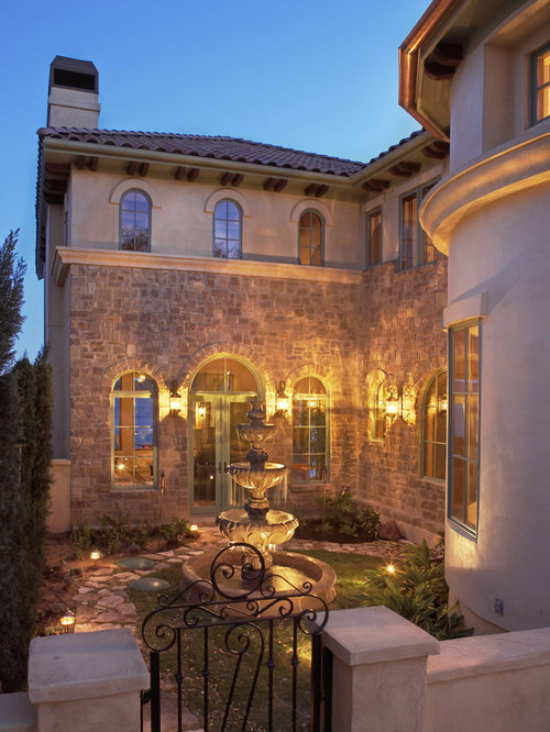 Exterior arched window home design ideas pictures for Mediterranean courtyard designs