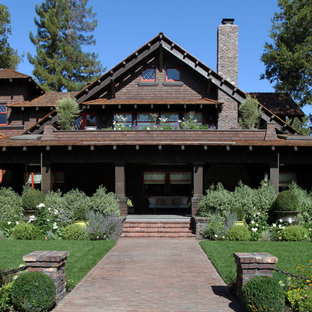 Craftsman two-story wood gable roof idea in San Francisco
