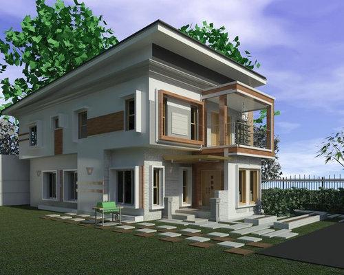Haus und fassade mit pultdach und backstein fassade ideen für die
