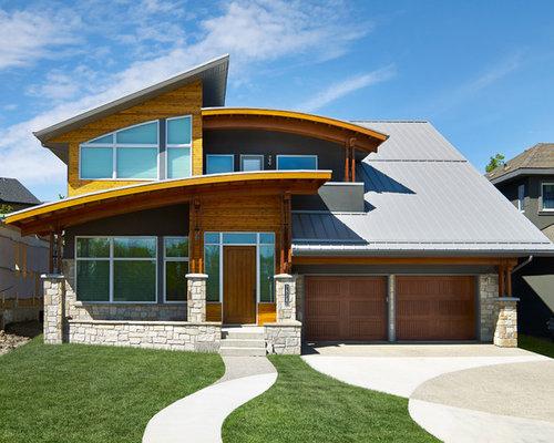 Contemporary Wood Exterior Home Idea In Edmonton