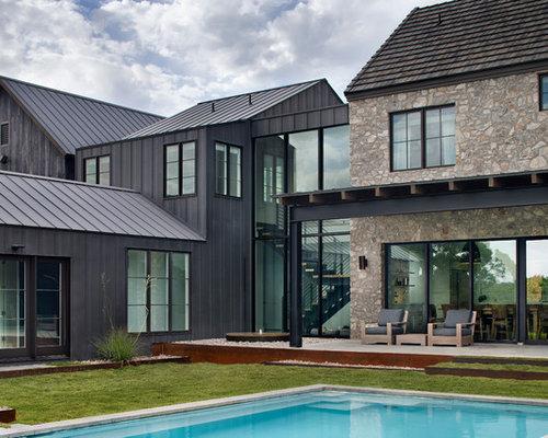 Houzz Farmhouse Mixed Siding Exterior Home Design Ideas